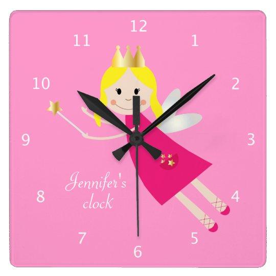 Fairy Princess custom girls name pink Square Wall Clock