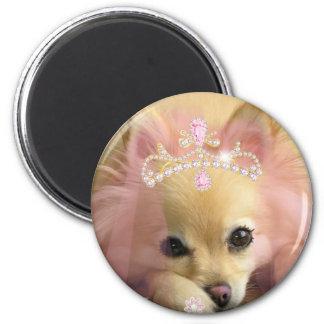 fairy princess dog with diamond crown 6 cm round magnet