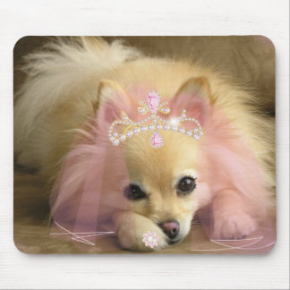 fairy princess dog with diamond crown mouse mat