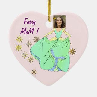 Fairy Princess, Dress & Stars - with YOUR Photo - Ceramic Heart Decoration