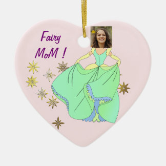 Fairy Princess, Dress & Stars - with YOUR Photo - Christmas Ornament