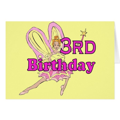 Fairy princess Girl 3rd third birthday card