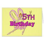 Fairy princess Girl 5th fifth birthday card