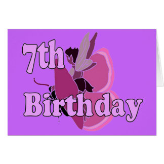 Fairy princess girl 7th seventh birthday card