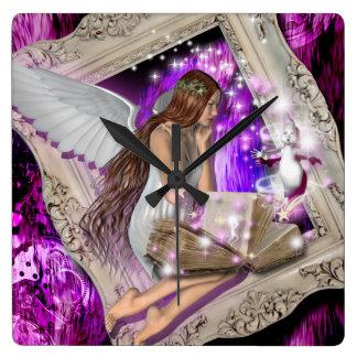 Fairy princess girls girly square wall clock