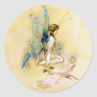 Fairy Princess Is Dressed By Pixies Round Sticker