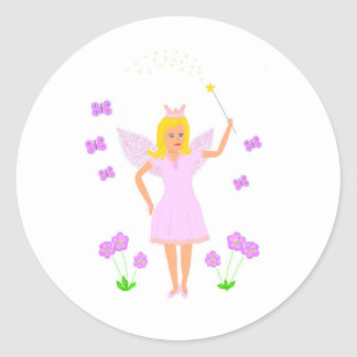 Fairy Princess, option to add name, other text Classic Round Sticker