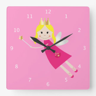 Fairy Princess, pink, for little girls room Square Wall Clock