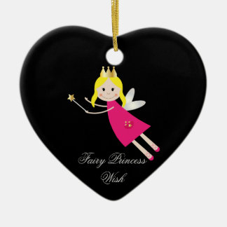 Fairy Princess Wish hanging ornament, gift idea Ceramic Heart Decoration