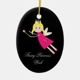 Fairy Princess Wish hanging ornament, gift idea Ceramic Oval Decoration