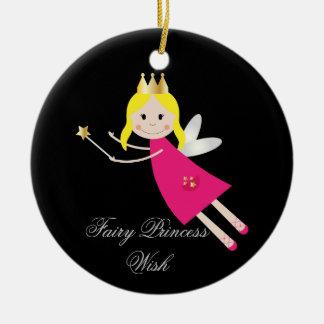 Fairy Princess Wish hanging ornament, gift idea Round Ceramic Decoration