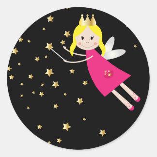 Fairy princess wish sticker, stickers, gift idea round sticker
