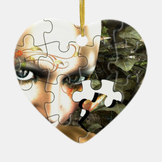 Fairy Profile jigsaw Ceramic Heart Decoration