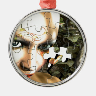 Fairy Profile jigsaw Silver-Colored Round Decoration