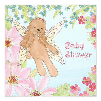 Fairy Puppy dog Baby Shower invitation card.