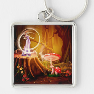 FAIRY SCENE with Mushrooms ~ Silver-Colored Square Key Ring