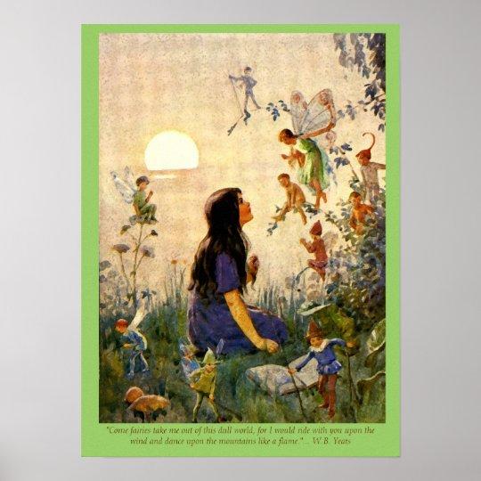 Fairy Secrets & Yeats Quote Vintage Print