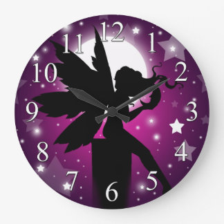 Fairy Silhouette Clock Purple Moon and Stars