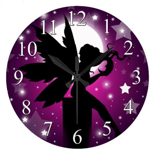 Fairy Silhouette Clock Purple Moon And Stars Zazzle Co Uk