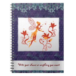 Fairy silhouette with flowers Personalized Note Books