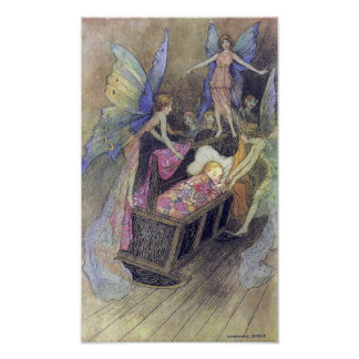 Fairy Singing to Baby by Warwick Goble Poster