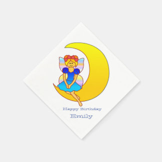 Fairy sitting on a crescent moon disposable napkin