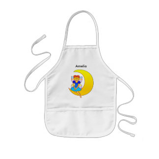 Fairy sitting on a crescent moon kids apron