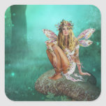 Fairy Sitting on a Mushroo Fantasy Square Stickers
