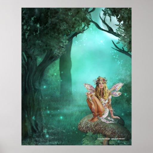 Fairy Sitting on a Mushroom Patch Print