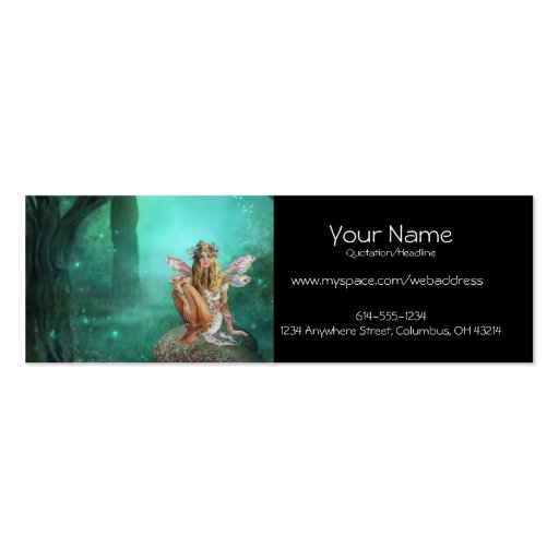 Fairy Sitting on a Mushroom Patch Profile Cards Business Card Template