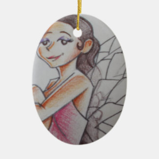 Fairy sitting with glowing light ceramic oval decoration