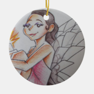 Fairy sitting with glowing light round ceramic decoration