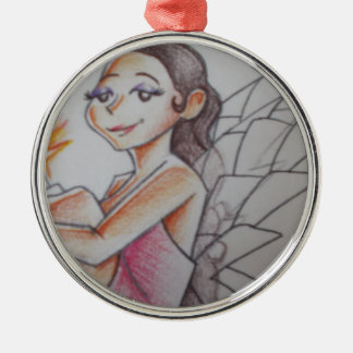 Fairy sitting with glowing light Silver-Colored round decoration
