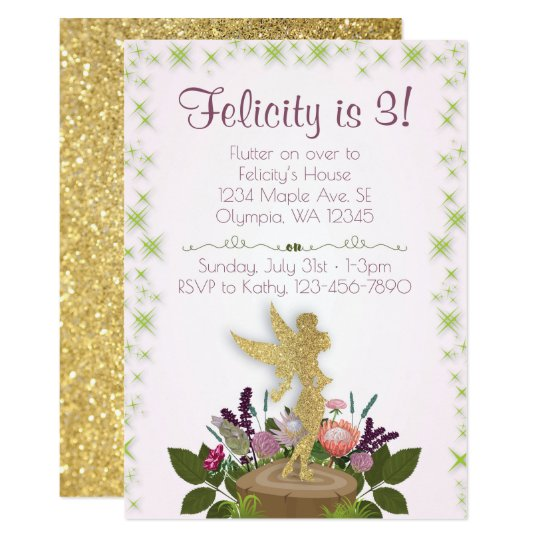 Fairy Sparkly Floral Birthday Party Invitation