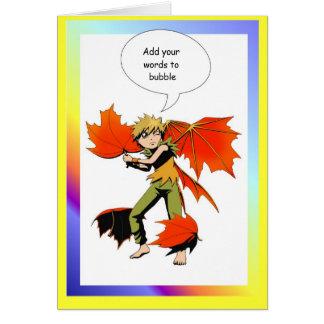 Fairy speech bubble, Autumn fairy Greeting Card