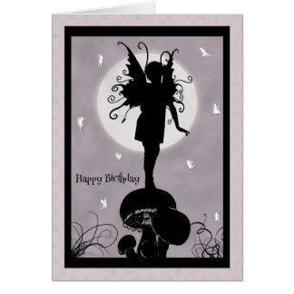 Fairy Standing on Mushroom Birthday Card