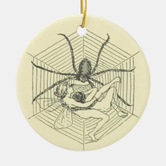 Fairy Stuck in Spider Web Round Ceramic Decoration