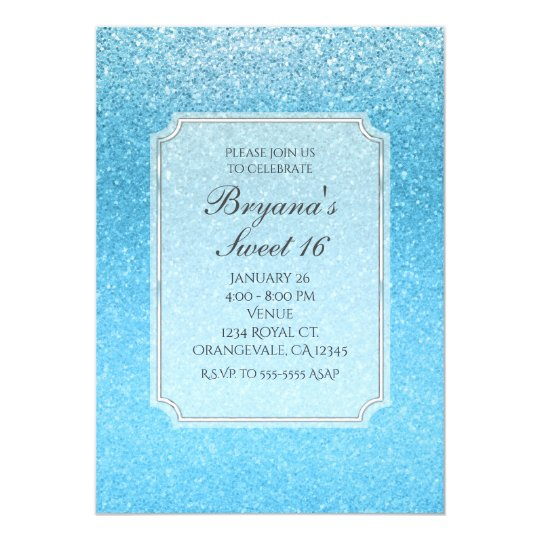 Fairy Tale Blue Glitter Sweet 16 Party Invitations
