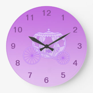 Fairy Tale Carriage in Purple. Large Clock