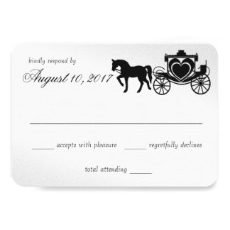 Fairy Tale Carriage Peacock Silver Response Card