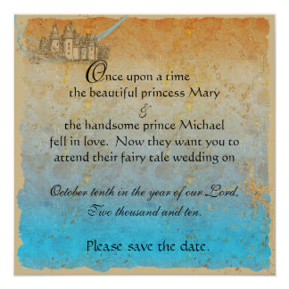 Fairy Tale Castle Save the Date Card 13 Cm X 13 Cm Square Invitation Card