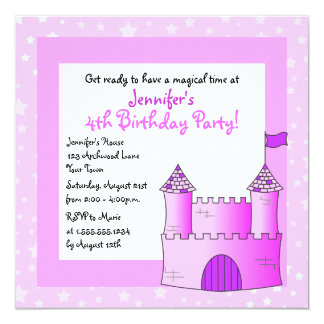 Fairy Tale Castle Themed Child Birthday - Pink 13 Cm X 13 Cm Square Invitation Card