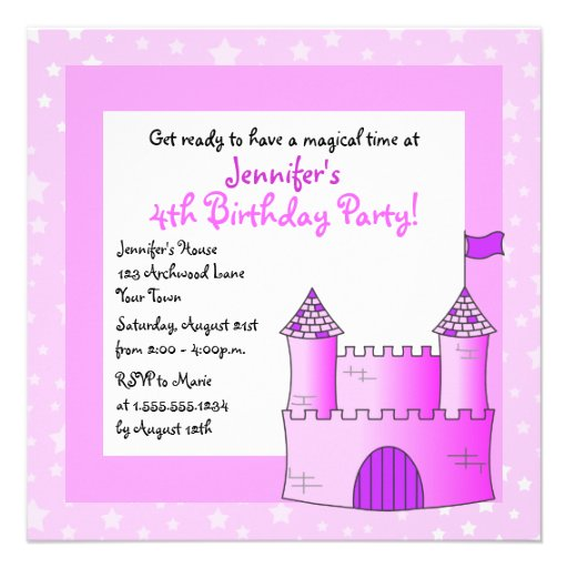Fairy Tale Castle Themed Child Birthday - Pink Personalized Invitations
