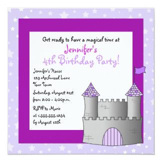 Fairy Tale Castle Themed Child Birthday - Purple 13 Cm X 13 Cm Square Invitation Card