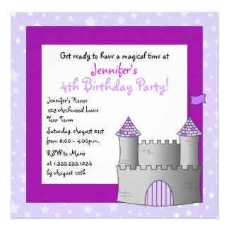 Fairy Tale Castle Themed Child Birthday - Purple Personalized Announcements