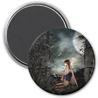 Fairy Tale Crystal Ball Full Moon Fantasy Magnet