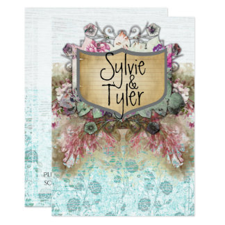 Fairy Tale Floral Vintage Name Plate Blue Roses Card