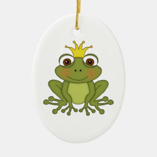 Fairy Tale Frog Prince with Crown Christmas Ornament