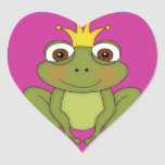 Fairy Tale Frog Prince with Crown Heart Sticker