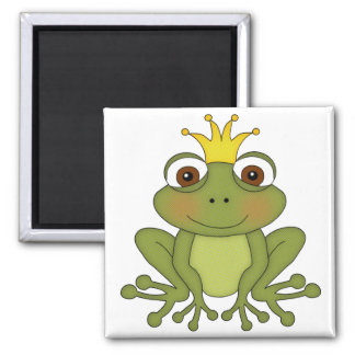 Fairy Tale Frog Prince with Crown Square Magnet